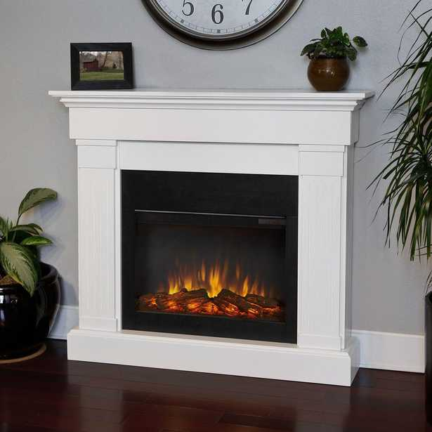 Crawford 47 in. Slim-Line Electric Fireplace in White - Home Depot