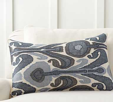 """Kenmare Ikat Embroidered Lumbar Pillow Cover, 16 x 26"""", Blue Multi - Pottery Barn"""