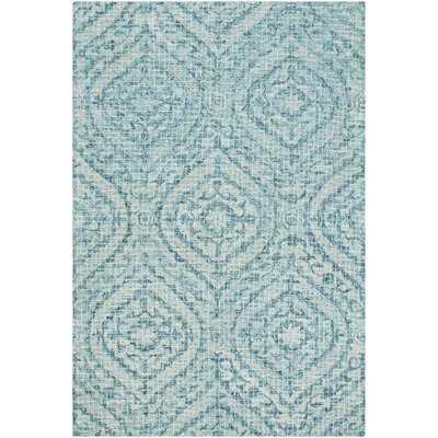 Waterville Geometric Hand-Tufted Sea Foam/Teal Area Rug - Wayfair