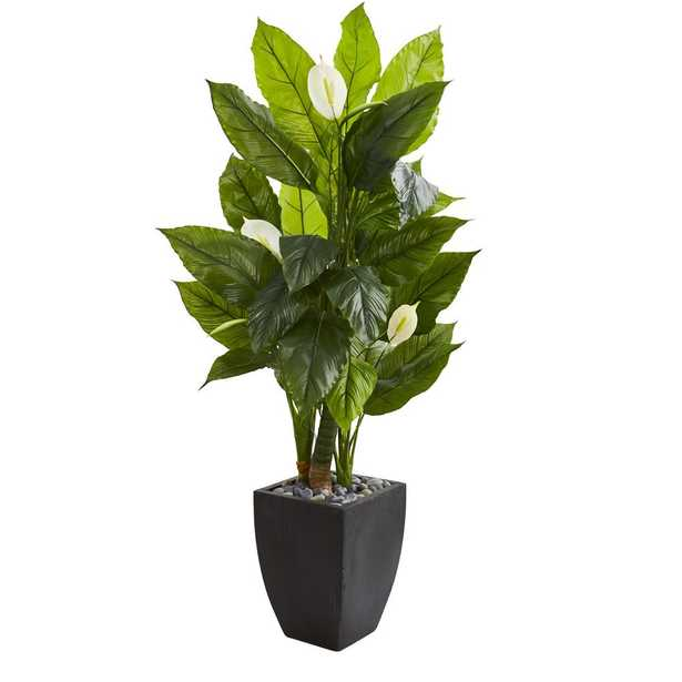 Nearly Natural Indoor 63 Spathiphyllum Artificial Plant in Black Planter - Home Depot