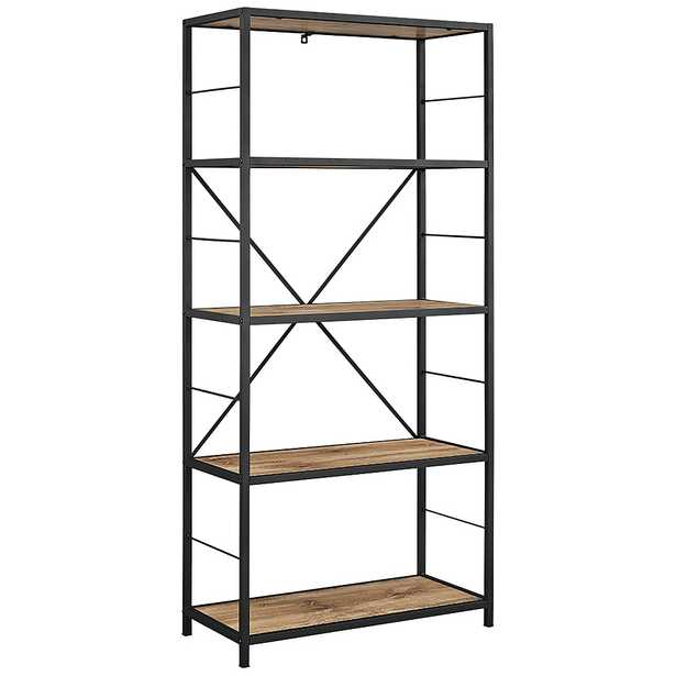 Creston Brown Barnwood 4-Shelf Media Bookshelf - Style # 24W75 - Lamps Plus