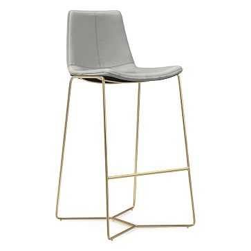 Slope Bar Stool, Leather, Cement, Antique Brass - West Elm