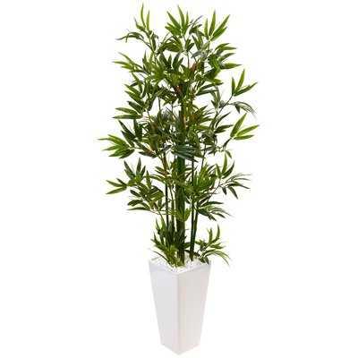 Artificial Floor Bamboo Tree in Rectangular Ceramic Planter - Wayfair