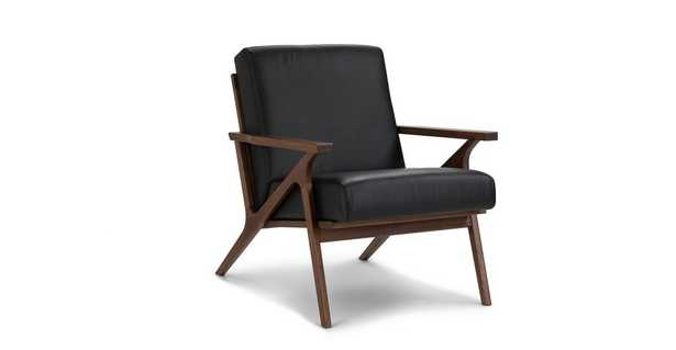 Otio Black Leather Lounge Chair - Article
