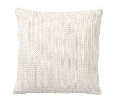 """Honeycomb Pillow Cover, 18"""", Ivory - Pottery Barn"""