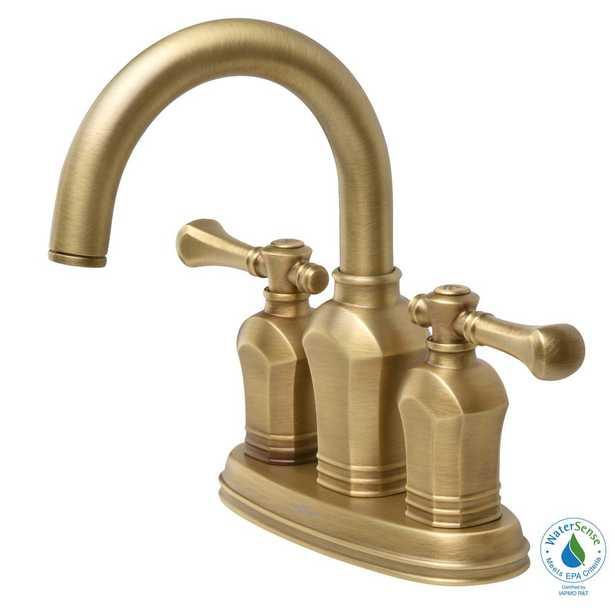 Glacier Bay Verdanza 4 in. Centerset 2-Handle High-Arc Bathroom Faucet in Antique Brass - Home Depot