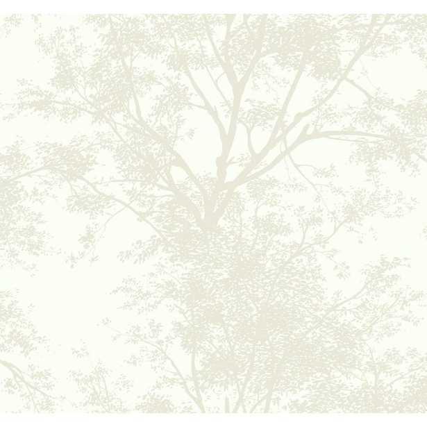 Ashford House Tree Silhouette Sidewall Wallpaper, White - Home Depot