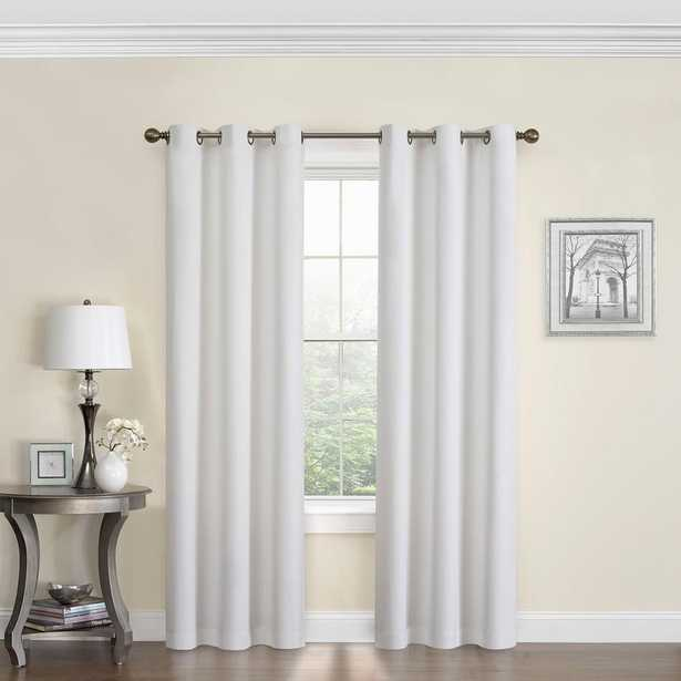 Eclipse Blackout Microfiber 84 in. L White Grommet Curtain - Home Depot