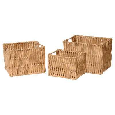 3 Piece Rectangle Water Hyacinth Basket Set - Wayfair