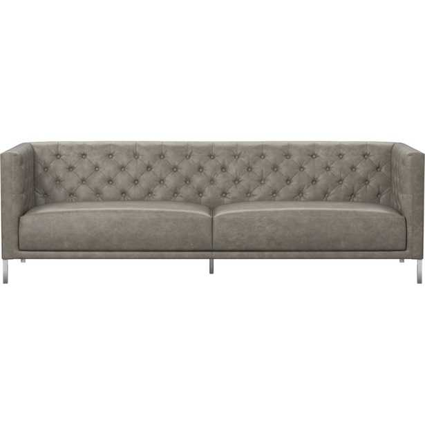 Savile Grey Leather Tufted Sofa - CB2