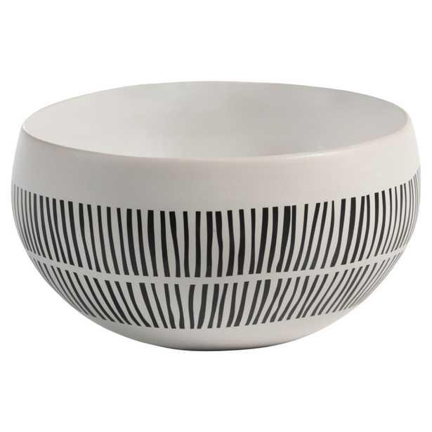 Jamie Modern Classic Black & White Lines Ceramic White Bowl - Small - Kathy Kuo Home