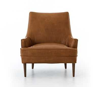 Reyes Leather Armchair, Polyester Wrapped Cushions, Signature Maple - Pottery Barn