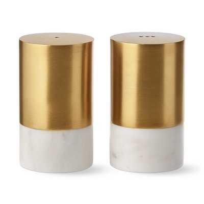 Marble & Brass Salt & Pepper Shakers - Williams Sonoma