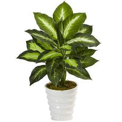 Artificial Dieffenbachia Floor Foliage Plant in Planter - Wayfair