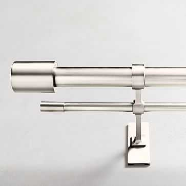 "Oversized Adjustable Metal Double Rod, 60""-108"", Polished Nickel - West Elm"