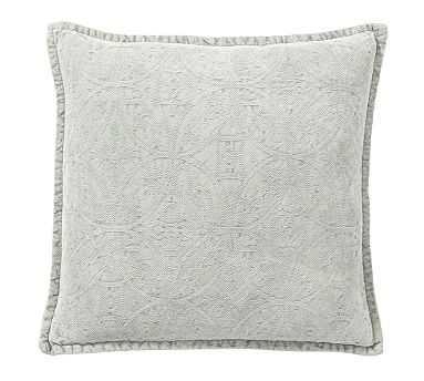 "Chenille Jacquard Pillow Cover, 20"", Light Blue - Pottery Barn"