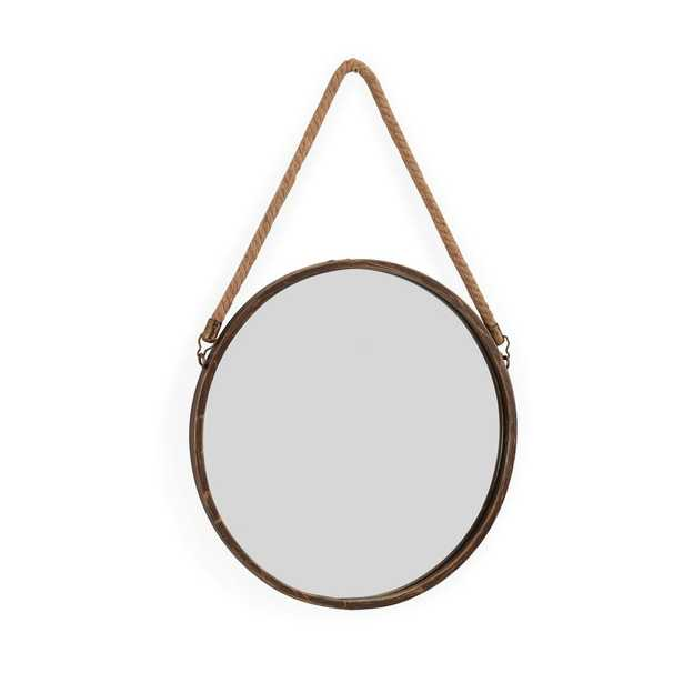 15 in. Gold Patina Round Mirror with Hanging Rope - Home Depot