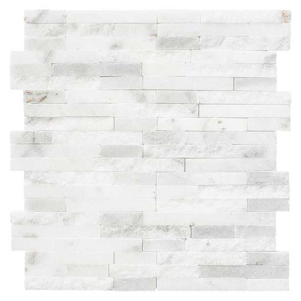 Jeffrey Court Churchill White Split Face 11.75 in. x 12.625 in. x 13 mm Marble Mosaic Wall Tile, Whites - Home Depot
