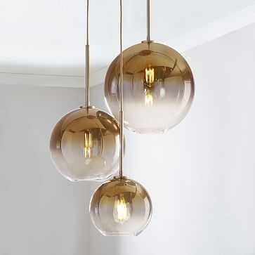 Sculptural Glass 3-Light Round Globe Chandelier, S-M-L Globe, Gold Ombre Shade, Brass Canopy - West Elm