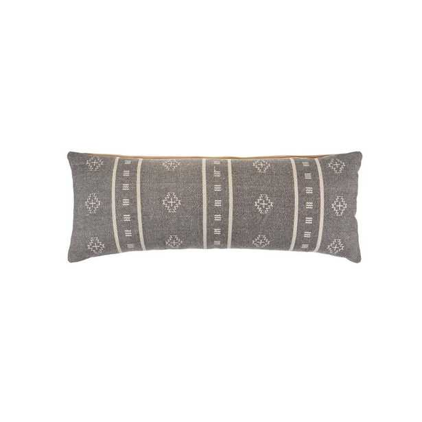 LR Home Embroidered Ethnic Gray / Cream 14 in. x 36 in. Rectangle Throw Pillow - Home Depot