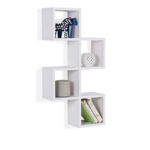 White MDF Cubby Chessboard Floating Wall Shelf - Home Depot