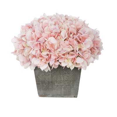 Artificial Hydrangea Floral Arrangement in Planter - Birch Lane
