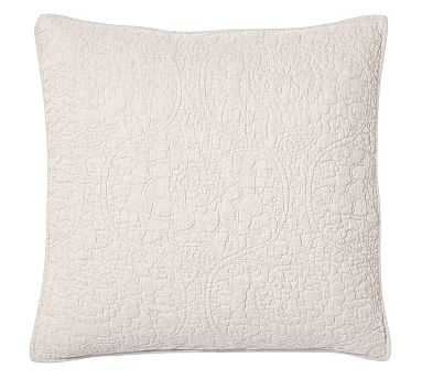 Belgian Flax Linen Floral Stitch Sham, Euro, Natural - Pottery Barn