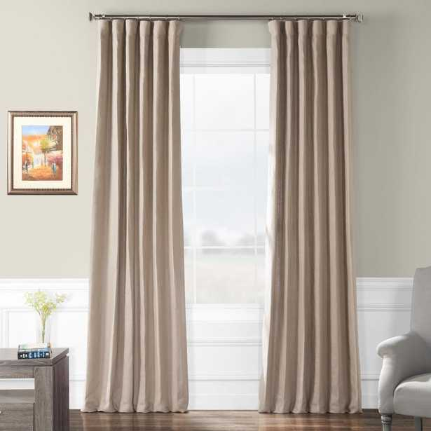 Exclusive Fabrics & Furnishings Flax Beige French Linen Curtain - 50 in. W x 108 in. L - Home Depot