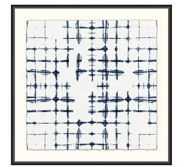 "Shibori Cross Hatch Framed Print, 36 x 36"" - Pottery Barn"