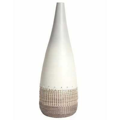 Esai Spun Bamboo and Coiled Seagrass Floor Vase - Wayfair
