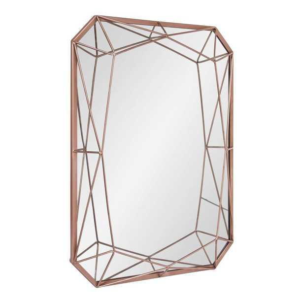 Keyleigh Rectangle Rose Gold Metal Wall Mirror - Home Depot