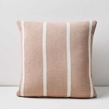 "Simple Stripe Pillow, 20""x20"", Pink Stone - West Elm"