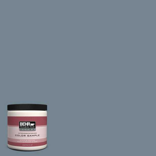 BEHR Premium Plus Ultra 8 oz. #N480-5 Adirondack Blue Matte Interior/Exterior Paint and Primer in One Sample - Home Depot