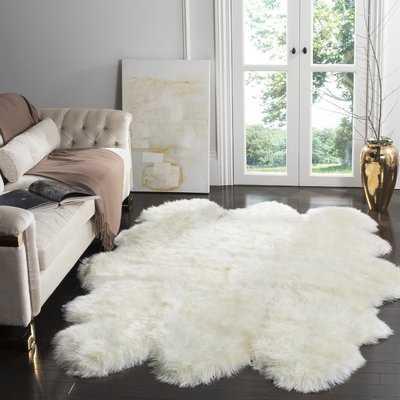 Allison Hand-Woven Faux Sheepskin White Area Rug - Wayfair