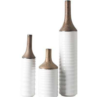 3 Piece Textured Ceramic Table Vase Set - Wayfair