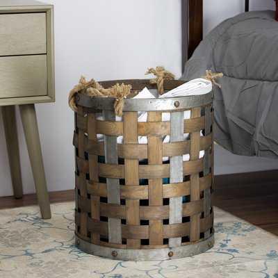 Rustic Bamboo and Metal Storage Basket - Wayfair