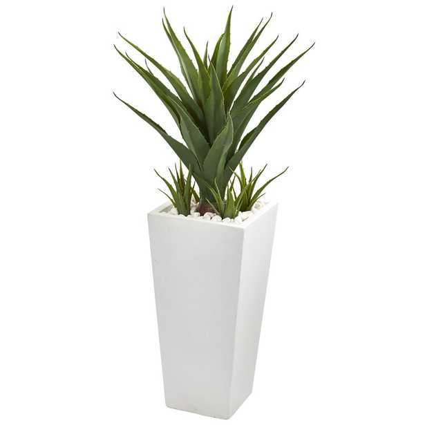 Nearly Natural 40 in. Spiky Agave Artificial Plant in White Planter - Home Depot