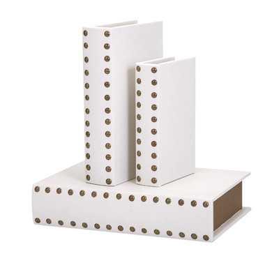 3 Piece White Book Box Set - Wayfair