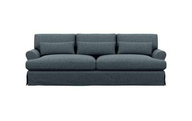 Maxwell Slipcovered Sofa with Rain Fabric and Matte Black with Brass Cap legs - Interior Define