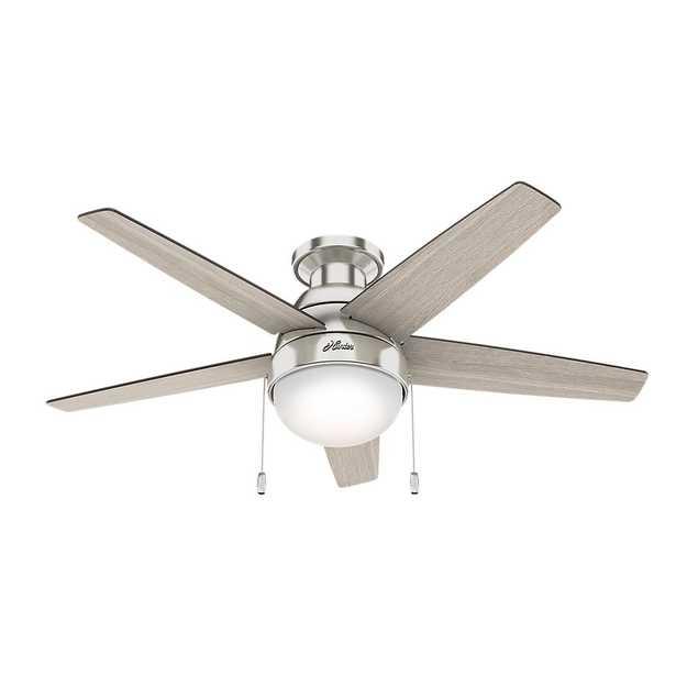 Hunter Parmer 46 in. LED Indoor Brushed Nickel Flush Mount Ceiling Fan - Home Depot