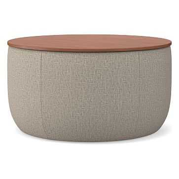 Upholstered Storage Base Ottoman - Large, Poly, Deco Weave, Stone, Dark Mineral - West Elm