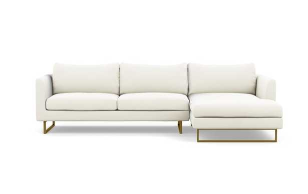 Owens Right Sectional with White Ivory Fabric, down alt. cushions, extended chaise, and Matte Brass legs - Interior Define