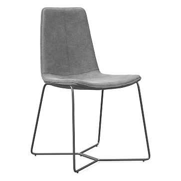 Slope Dining Chair, Charcoal Leg, Distressed Velvet, Metal, Charcoal - West Elm