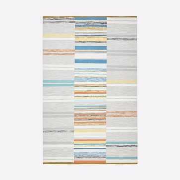Mixed Stripes Dhurrie, Multi, 5'x8' - West Elm