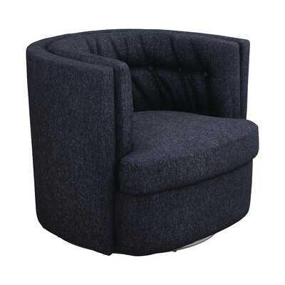 Recessed-Arm Tufted Swivel Chair Dark Blue - Wayfair