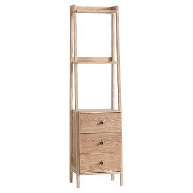 Highland Narrow Bookcase with Drawers, Water-Based Smoked Gray - Pottery Barn Teen