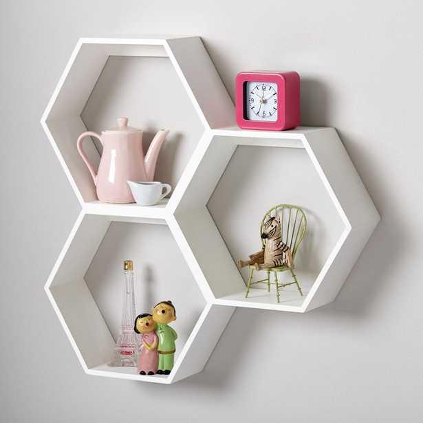 Honeycomb White Hexagon Shelf - Crate and Barrel