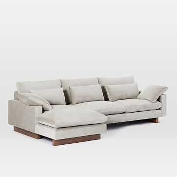 Harmony Set 2, Right Arm 2.5 Seater Sofa, Left Arm Chaise, Distressed Velvet, Light Taupe - West Elm