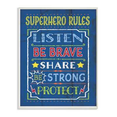 'Superhero Rules' Textual Art Wall Plaque - Wayfair