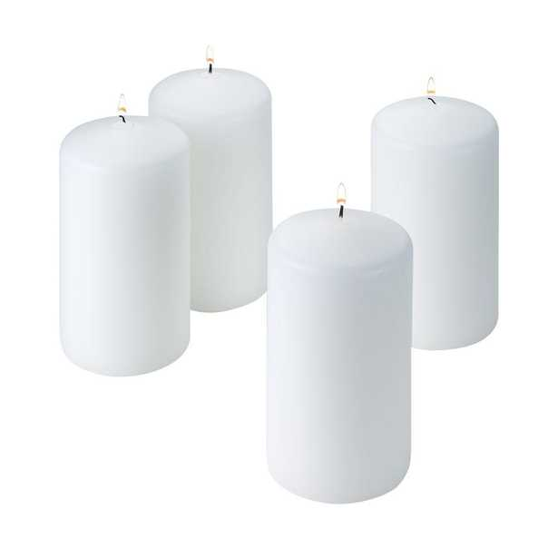 6 in. Tall x 3 in. Wide Unscented White Pillar Candle (Set of 4), Whites - Home Depot
